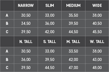 Acavallo - Half Chaps Gaiters Size Guide